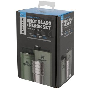 Shotglass Set + Flask Set Hammertone Green